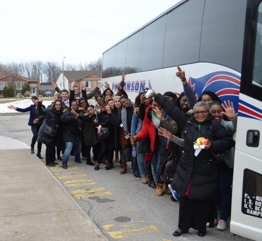 College and university participants of the Health Career Bus initiative, Health Career Bus to increase awareness among French-speaking students of career opportunities available to them in the Niagara region in fields such as nursing, social work and seniors services. March 20, 2017